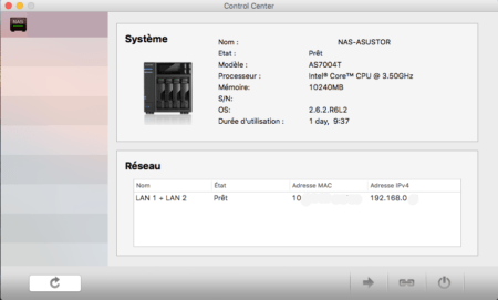 Asustor Control Center : version Mac OS
