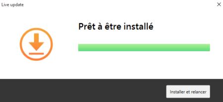 """Cliquez sur """"Installer et relancer"""" pour installer la mise à jour"""