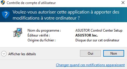 Si le contrôle de compte utilisateur vous demande confirmation, cliquez sur Oui