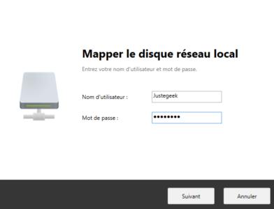 Renseignez un utilisateur du NAS ayant accès au dossier à monter