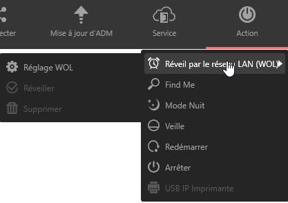 Les réglages du Wake On LAN sont accessibles ici