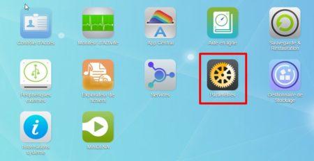 Cliquez sur l'icône paramètres présente sur le bureau