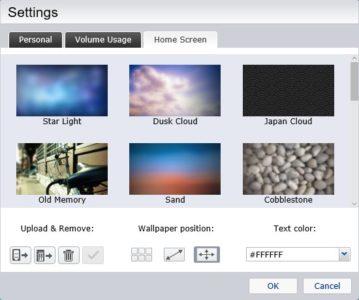 L'onglet Home Screen vous permet de personnaliser le bureau du NAS