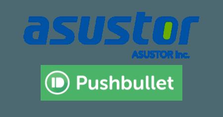 Logos d'Asustor et de Pushbullet