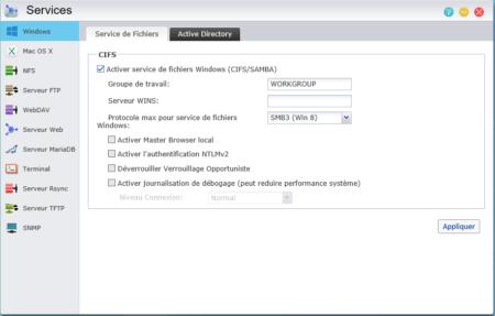 """Cochez la case """"Activer service de fichiers Windows"""""""
