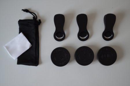 Contenu de la boite : 3 filtres, 3 clips un chiffon et une petite housse