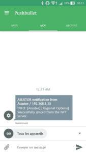Les notifications Asustor reçues sur le smartphone via Pushbullet