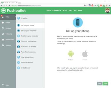 Cliquez sur Done une fois que vous avez installé Pushbullet sur votre smartphone