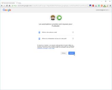 Vous devez autoriser l'application Pushbullet à accéder à certaines données