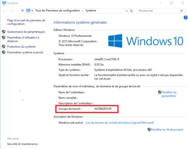Vous pouvez visualiser le nom de votre groupe de travail sur la page Système de Windows