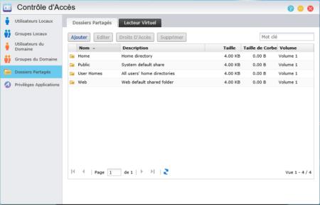 Le menu Contrôle d'Accès permet d'accéder aux dossiers partagés