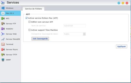 Cochez la case Activer service fichiers Mac (AFP)