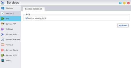 Cochez la case Activer service NFS et cliquez sur Appliquer