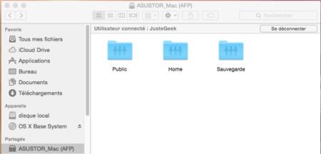 Vous voyez maintenant les dossiers auxquels votre utilisateur a accès