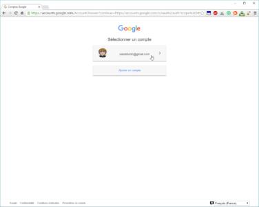 """Sélectionnez votre compte Google ou utilisez l'option """"Ajouter un compte"""""""
