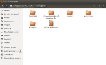 Le partage FTP est maintenant accessible dans l'explorateur de fichiers