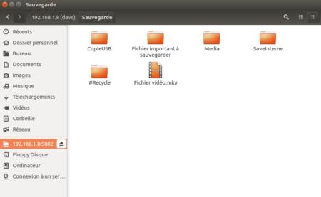 Le partage est maintenant accessible dans l'explorateur de fichiers