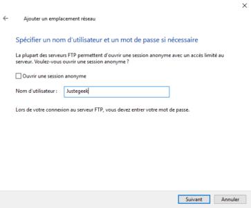Saisissez le nom de l'utilisateur FTP ou choisissez l'accès anonyme