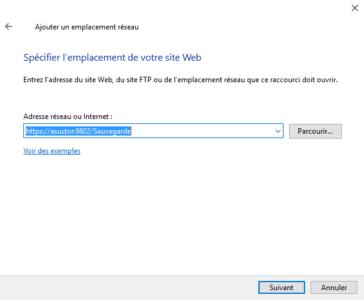 Entrez le chemin pour accéder à votre WebDAV