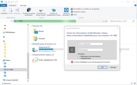 Authentifiez-vous pour accéder aux partages depuis Windows