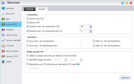 L'onglet Avancé propose diverses options pour le service FTP