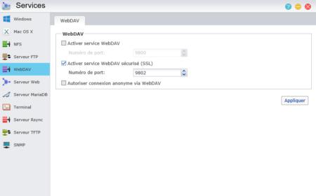 Activez ici le WebDAV en HTTP ou HTTPS (recommandé)