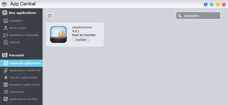 phpMyAdmin est disponible dans la magasin d'applications pour gérer ses bases de données