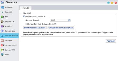 Dans la fenêtre des Services, cliquez à gauche sur Serveur MariaDB