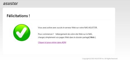 La page par défaut du serveur Web Asustor