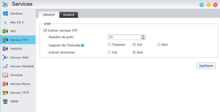 """Dans l'onglet Général, cochez simplement """"Activer Serveur FTP"""""""