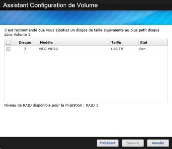 Choix du disque à intégrer dans le RAID 1