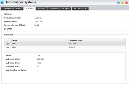 L'onglet réseau vous donne toutes les informations concernant la ou les interfaces réseau
