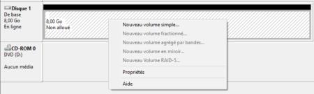 Faites un clic droit sur le disque pour créer un nouveau volume