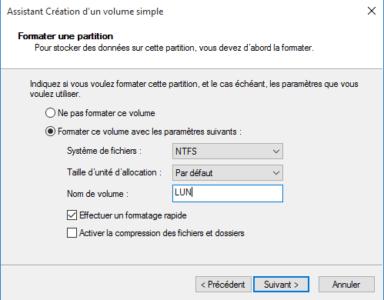 Choisissez les options de formatage : type de système de fichiers et nom du disque