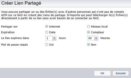 Définissez les options de ce lien : mot de passe, expiration...