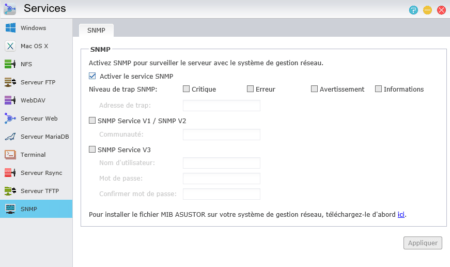 Cliquez simplement sur Activer le service SNMP