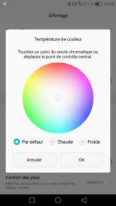 La température de couleurs de l'écran est personnalisable