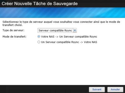 Sélectionnez le type de tâche voulue : ici , le NAS -> Un Serveur Rsync