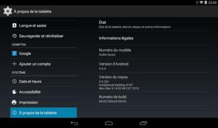 La tablette auna tourne sous Android 4.4.4
