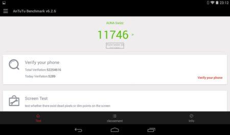 Seulement 11 746 points sur le benchmark Antutu