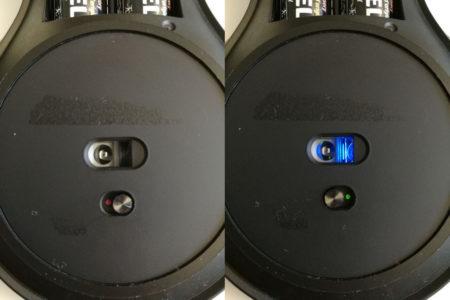L'interrupteur se trouve sous la souris