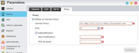 Paramétrez ici votre serveur proxy, si vous en avez-un.