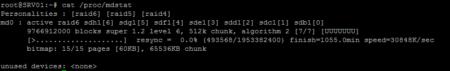cat /proc/mdstat permet de contrôler l'état du RAID