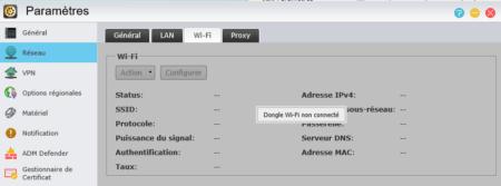 Si vous avez un dongle Wi-Fi, paramétrez-le ici.