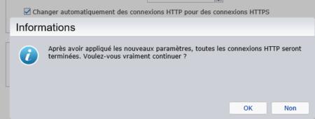En activant le HTTPS votre session HTTP sera terminée et vous devrez vous reconnecter
