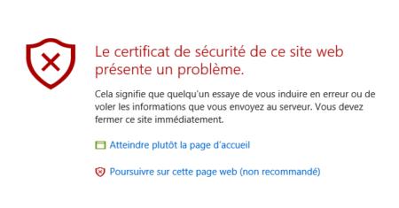 En vous connectant, si vous n'avez pas de certificat, vous aurez le message suivant (non bloquant)