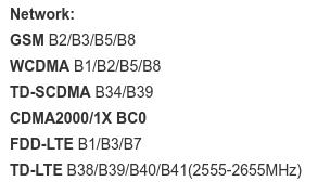 Le Xiaomi Redmi 4 possède ces bandes de fréquences