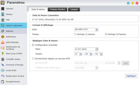 L'onglet Date & Heure vous permet de choisir le format de date et heure à utiliser et de définir un serveur de temps