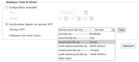Paramétrage du serveur de temps pour synchroniser l'heure automatiquement