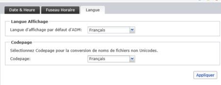 L'onglet Langue permet de modifier la langue de l'interface d'ADM